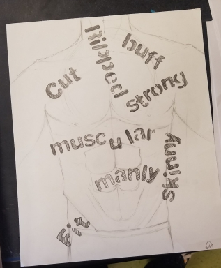 Art 1 student exploring what society says a man is supposed to be.